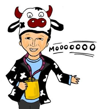 Illustration of Austin Siok mooing