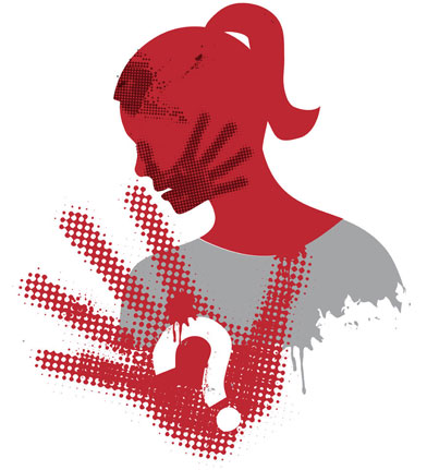 Illustration of young woman grunge silhouette covering strike with hand print on the face