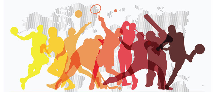Illustration of figures playing different sports