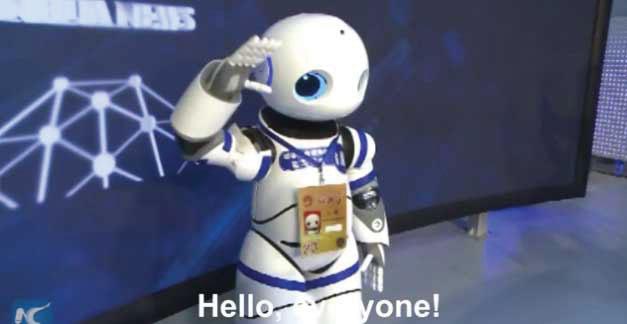 Xiao Nan Robot journalist saying hello