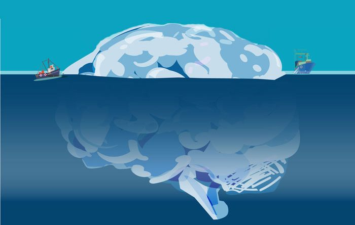 Illustration of human brain as an iceberg partially submerged