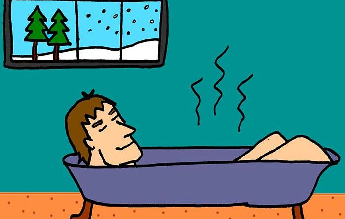 Illustration of man lying in a hot tub at a Finland sauna