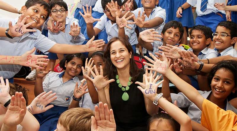 Kiran Bir Sethi with a group of schoolchildren