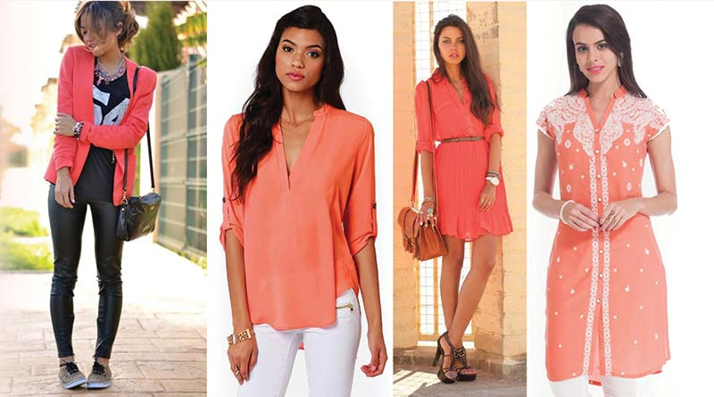 Models wearing various outfits in Living Coral, Pantone Colour of the Year 2019