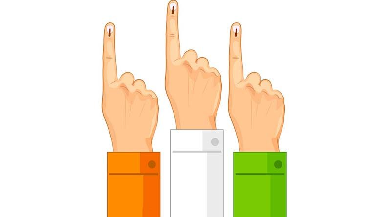 Three hands with voting mark on fingers