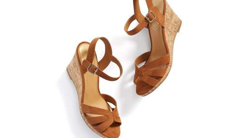 A pair of tan wedges