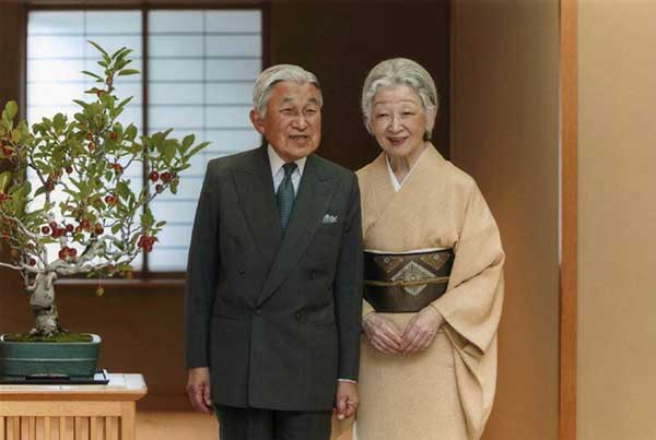 Japanese Emperor Akihito with Empress Michiko
