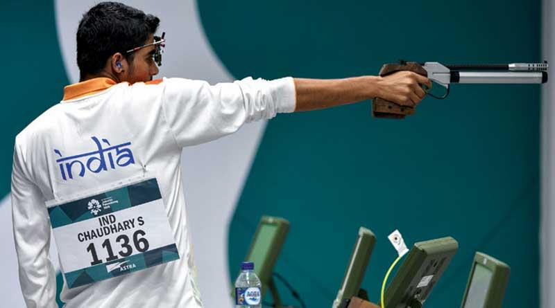Saurabh Chaudhary shooting at a tournament