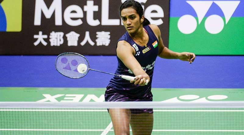 Sindhu playing a shot