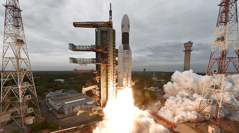 India's second moon mission Chandrayaan-2 lifts off onboard GSLV Mk III-M1 launch vehicle from Satish Dhawan Space Center at Sriharikota, Andhra Pradesh