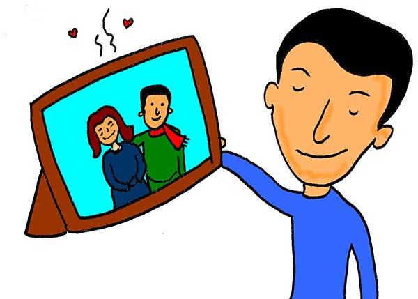 Illustration of man smelling a fragrant photo frame