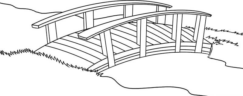 Illustration of a wooden bridge across a river