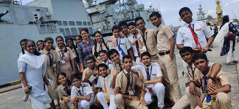 Students of St John the Evangelist, Marol, aboard the INS Talwar
