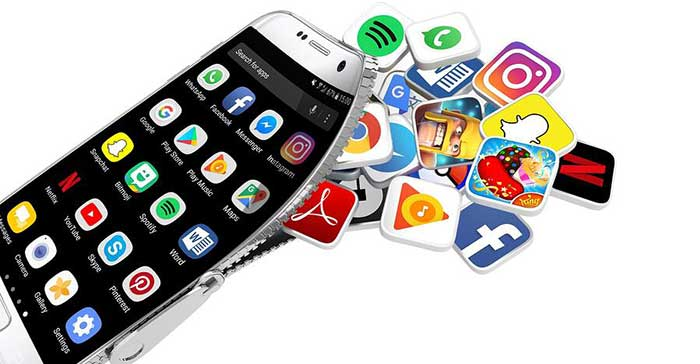 Mobile phone with apps spilling out of it