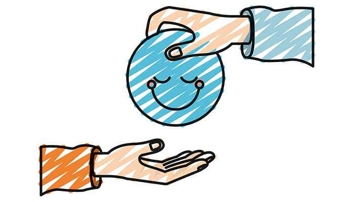 Illustration of a blue happy face being given from one hand to another