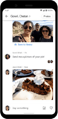 Screenshot of Google Photos messaging feature