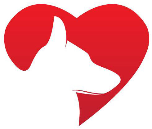 Illustration of German Shepherd dog in front of a red heart