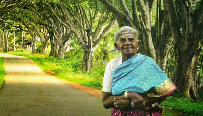 Saalumarada Thimmakka standing in front of a row of trees