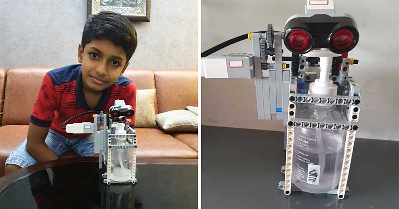Alok Dev with his robotic sanitizer dispenser