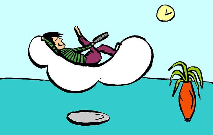 Illustration of man relaxing on a floating sofa