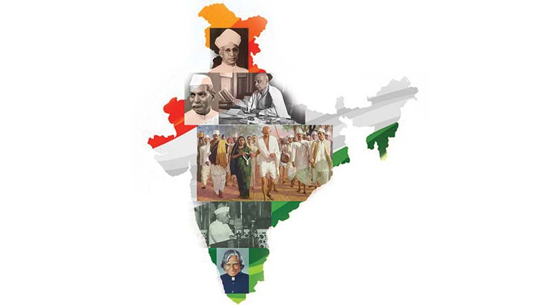 Map of India with freedom fighters