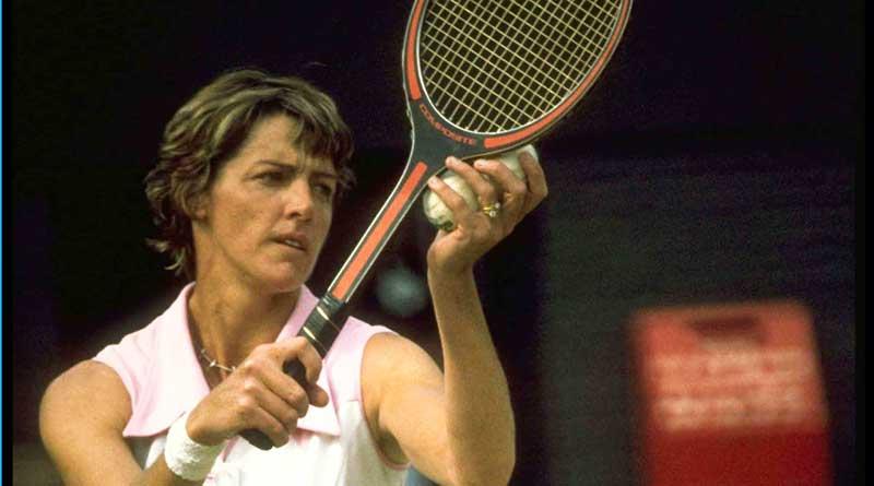 Margaret Court serving during a tennis match