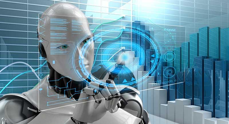 Robot touching digital screen