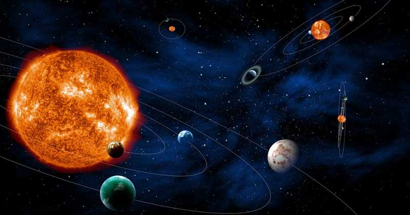 Artist's representation of the solar system