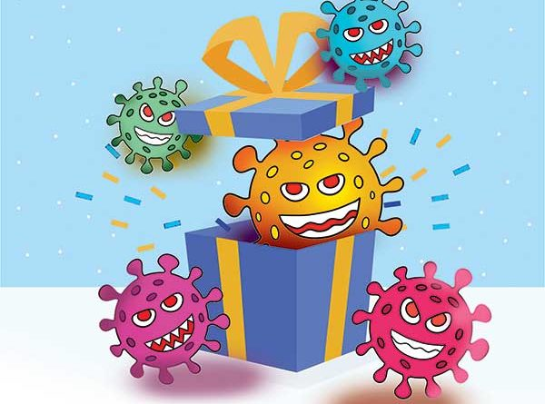 Illustration of Coronavirus jumping out of gift box
