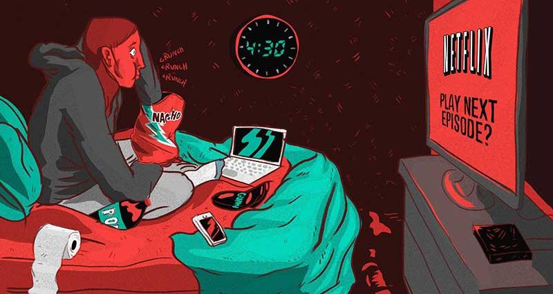Illustration of a man binge watching Netflix