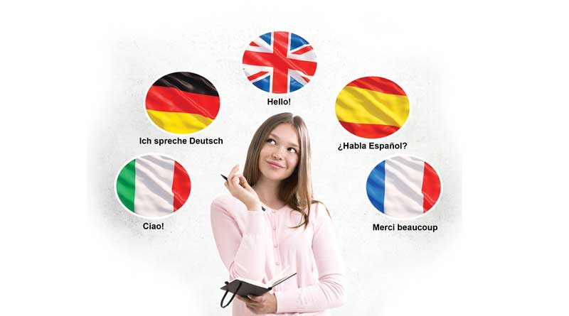 Young girl with the flags of different countries above her head