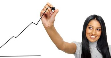 Young woman drawing a upward moving graph