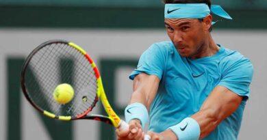 Rafael Nadal plays a forehand shot