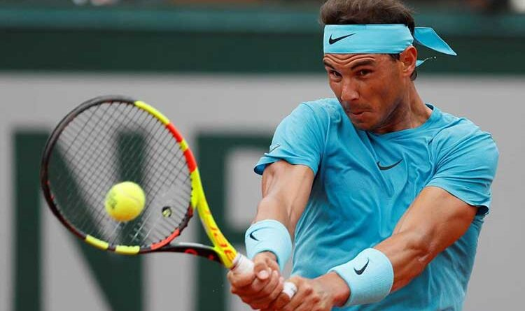 Rafael Nadal plays a forehand shot