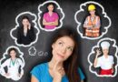 Young woman thinking of different careers
