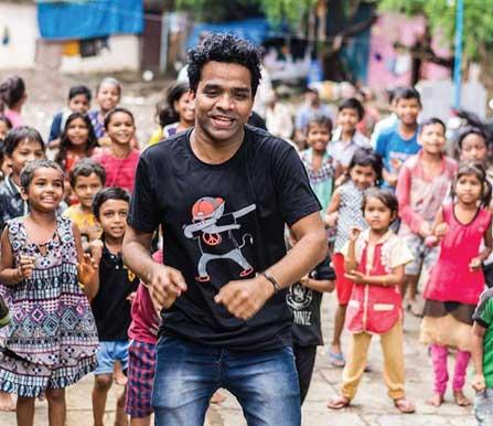 Mayur dancing with children