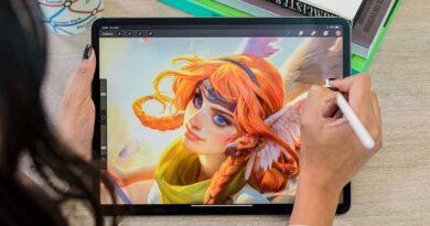 Digital painting on a tab