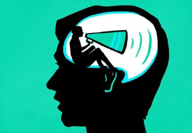 Illustration of a man's head with a person inside it talking on a megaphone