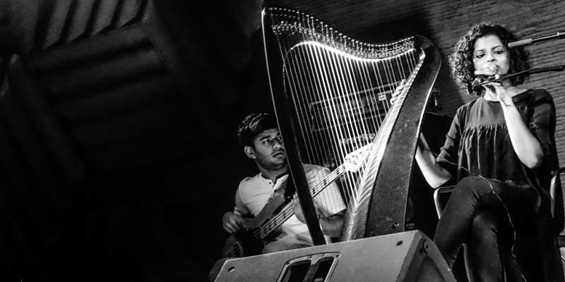 Nush Lewis playing the harp