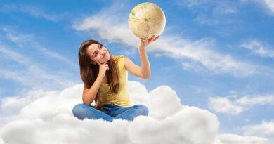 Young student woman holding a globe and sitting on a cloud