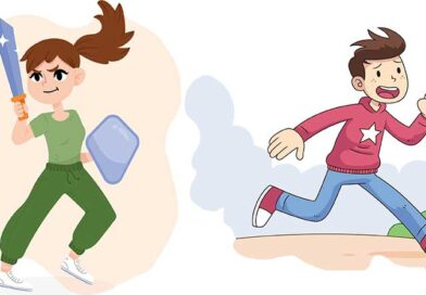 Illustration of girl with sword and boy running away