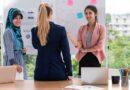 Female interpreter translating for clients
