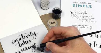 Hand writing a quotationu using calligraphy