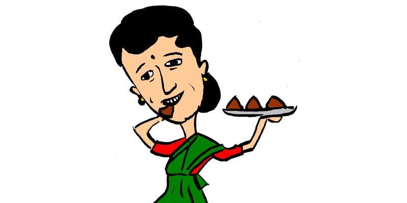 Illustration of woman eating choclocate samosas