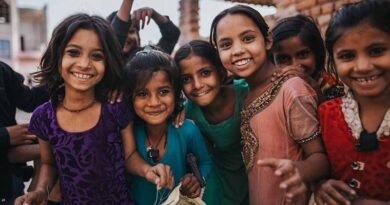 Group of cheerful young girls smiling